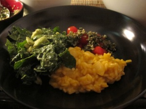 Vegan Butternut Squash Risotto, Kale Salad, Tomatos with Pepito Pesto